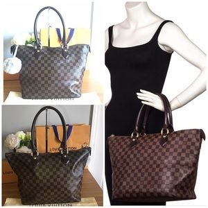🛍LOUIS VUITTON Damier Ebene MM Saleya Zipped Tote
